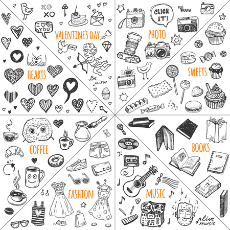Mega doodle design elements vector set. Hand drawn illustrations: photo, sweets, books, hearts, Valentine`s day, music, fashion clothes, coffee.