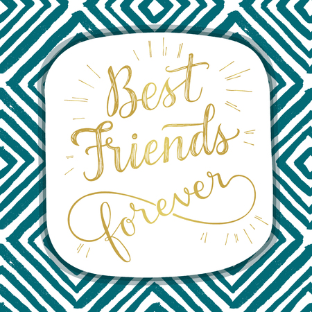 Best Friend Forever, hand lettering phrase. Vector illustration.  Retro greeting card for friendship day 矢量图像