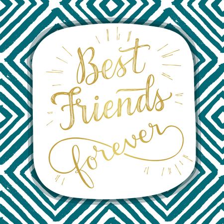 amistad: Mejor amigo para siempre, frase letras de la mano. Ilustración del vector. Tarjeta de felicitación retra para el día de la amistad