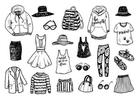 moda ropa: dibujado a mano la ropa de moda conjunto de dibujos Vectores