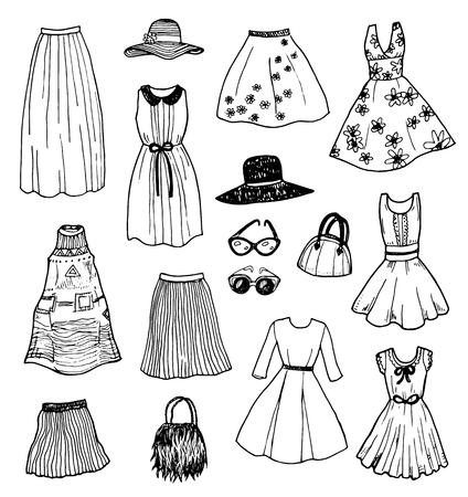 fashion set: Hand drawn fashion women clothes sketch set Illustration
