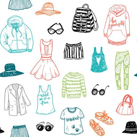 moda ropa: dibujado a mano la ropa de moda sin patrón