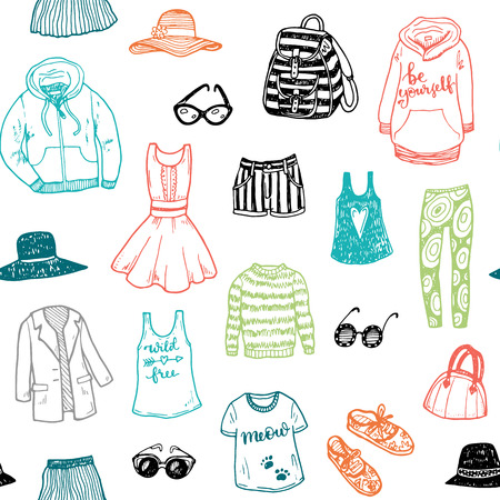 fashion clothes: Hand drawn fashion clothes seamless pattern Illustration