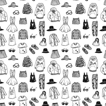 moda ropa: fondo blanco y negro sin fisuras con ropa de moda dibujado a mano.