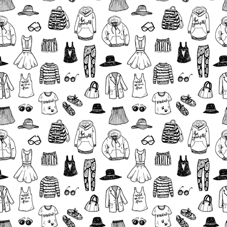 Seamless black and white background with hand drawn fashion clothes.
