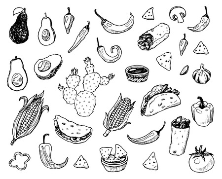 doodle: Hand drawn mexican food doodle set