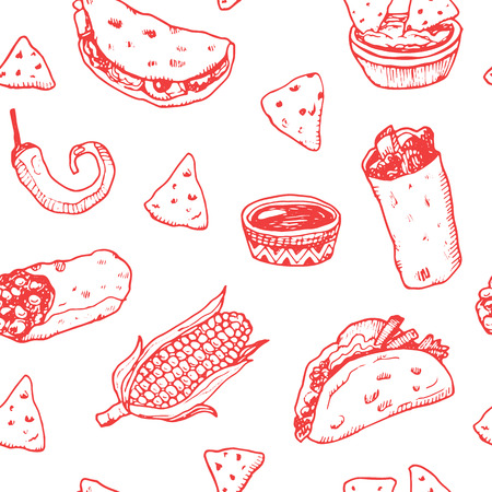 mexican background: Hand drawn sketch Mexican food seamless background.