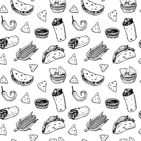 mexican background: Hand drawn black and white sketch Mexican food seamless background.