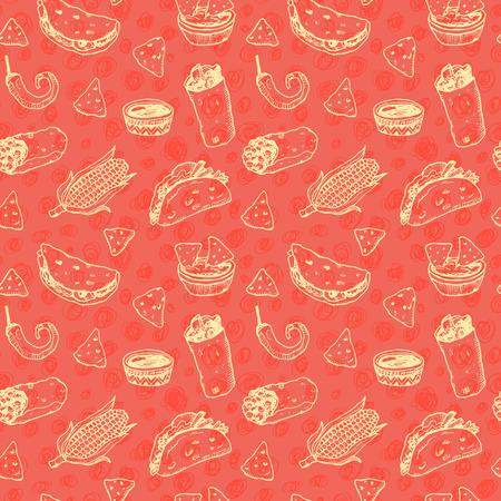 手描きのスケッチ メキシコ料理シームレスな背景が赤。  イラスト・ベクター素材