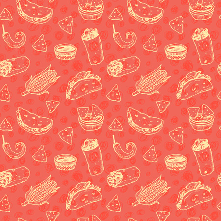 Hand drawn sketch Mexican food seamless red background.