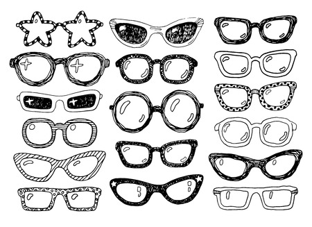 spectacle frame: Hand drawn doodle fashion eyeglasses set