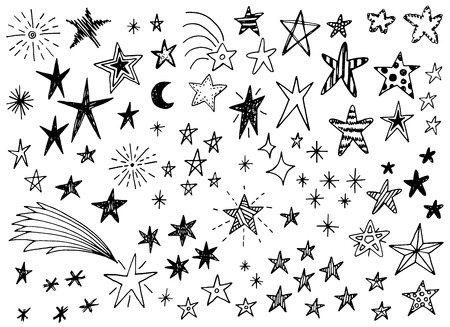 hand with pencil: Hand drawn doodle stars vector collection