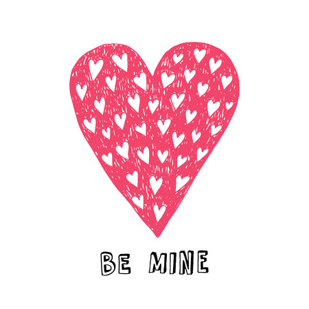be mine: Be mine. Valentines day greeting card with hand drawn doodle hearts.