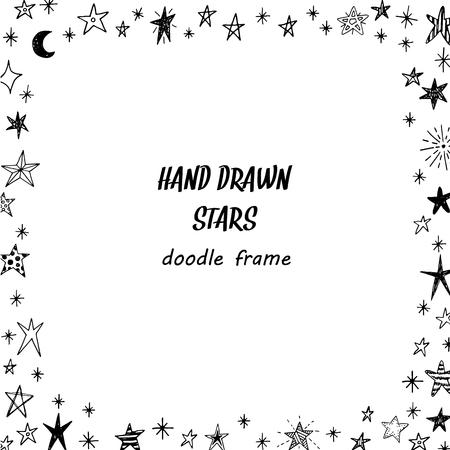 marco cumpleaños: dibujados a mano estrellas de bosquejo del marco cuadrado Vectores