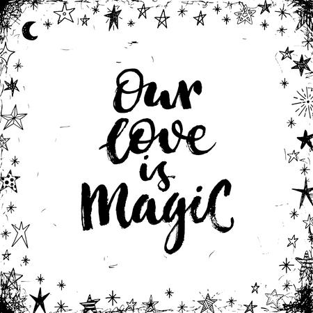 magia: Nuestro amor es mágico. Valintines tarjeta del día. Vectores
