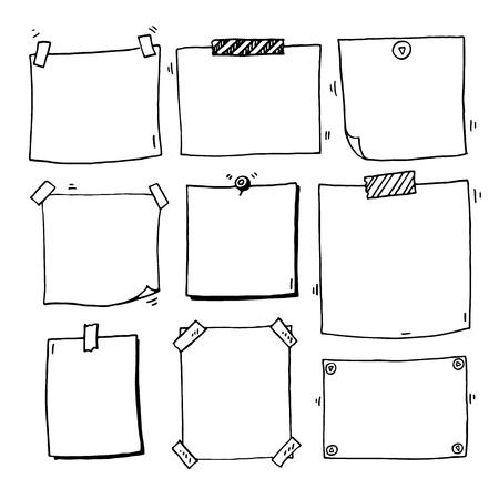 Hand drawn doodle notepaper for messages set 일러스트