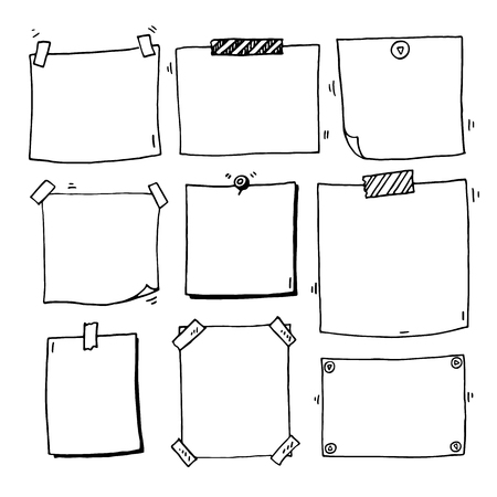 Hand drawn doodle notepaper for messages set Çizim