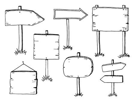 boceto: dibujado a mano doodle de muestras de madera y flechas