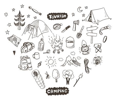 Hand drawn sketch camping icons set.