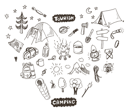 Hand drawn sketch camping icons set.