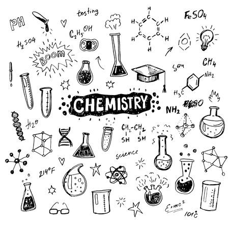 medical drawing: Hand drawn chemistry icons sketch set. Doodle flasks, formulas, scribbles for your design.