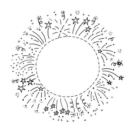 childish: Hand drawn doodle fireworks frame