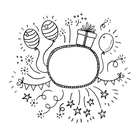 Hand drawn doodle party frame Stock Illustratie