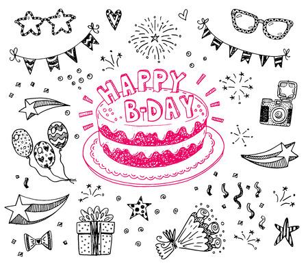 pastel cumpleaños: Feliz cumpleaños dibujado a mano conjunto de dibujos con la torta del doodle, globos, fuegos artificiales y atributos del partido
