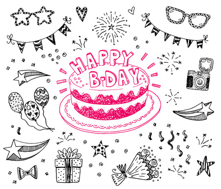 cake birthday: Happy birthday hand drawn sketch set with doodle cake, balloons, fireworks and party attributes