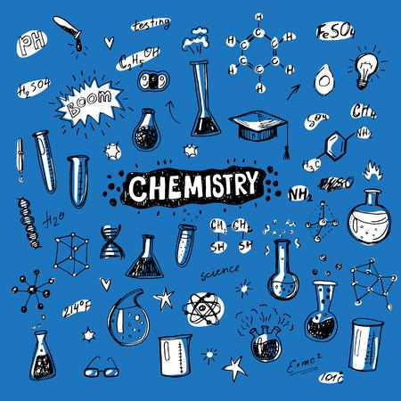 Hand drawn chemistry icons sketch set. Doodle flasks, formulas, scribbles for your design.