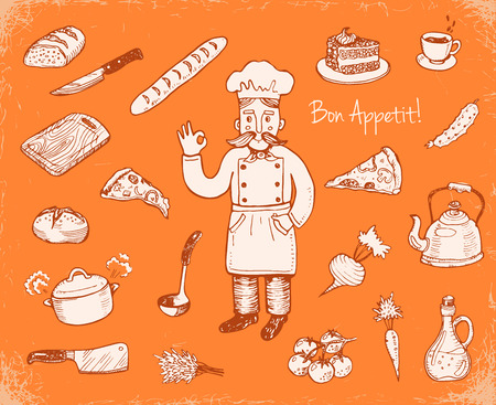 cutting board: Hand drawn doodle cooking set. Illustration