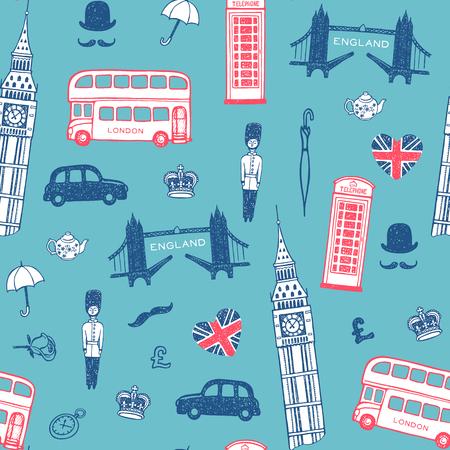 british touring car: Hand drawn England set, vector illustration