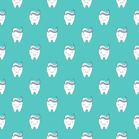 dental hygienist: Funny teeth seamless background Illustration