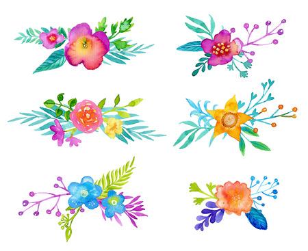 flores moradas: establecen flores de la acuarela. Primavera, ramos de flores de verano para su diseño