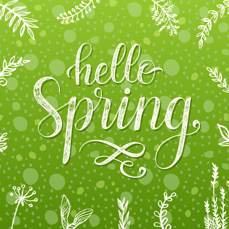 spring green: Hello Spring.  lettering poster.