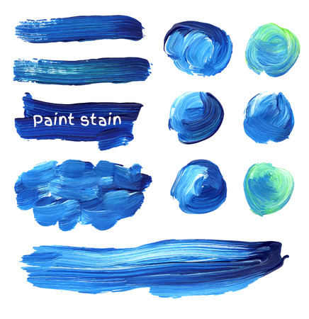 Hand drawn oil paint strokes. Vector background stains set. Illustration