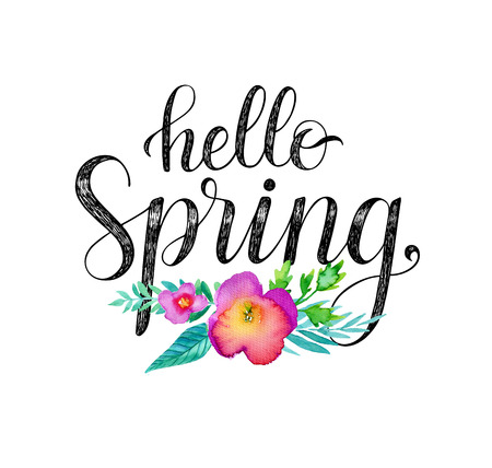 spring message: Hello Spring. Hand drawn phrase and watercolor flowers. Stock Photo