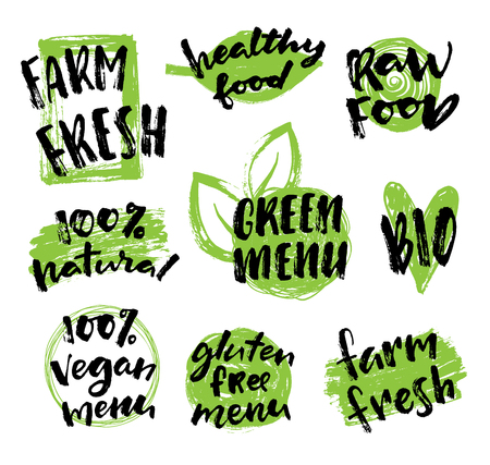 organic background: Labels with vegetarian, farm fresh and raw food diet designs. Organic food tags and elements set for cafe, restaurants and organic products packaging.Vector illustrated bio detox logo.