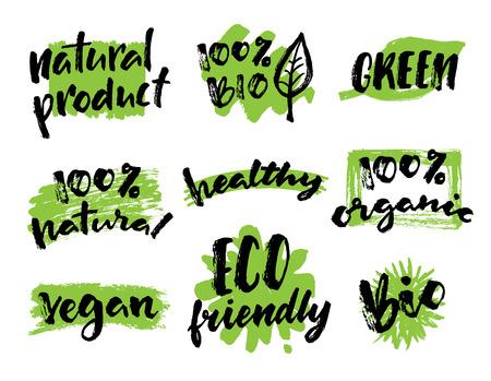 Organique, végétalien, main d'aliments naturels tiré des étiquettes. étiquettes organiques et les éléments fixés pour les produits biologiques packaging.Vector illustrés bio logo de désintoxication. Eco-friendly design.