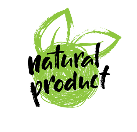 Natural product hand written label, eco, bio, organic logo design