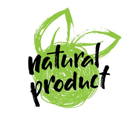 Natuurlijk product handgeschreven etiket, eco, bio, biologisch logo design