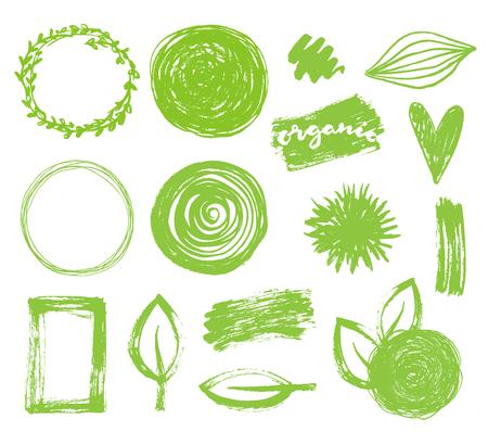 saludable logo: Vector dibujado a mano marcos verdes fijados. Eco, bio, diseño de logotipo ecológico
