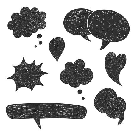 cartoon cloud: Hand drawn vector sketch speech bubbles set Illustration