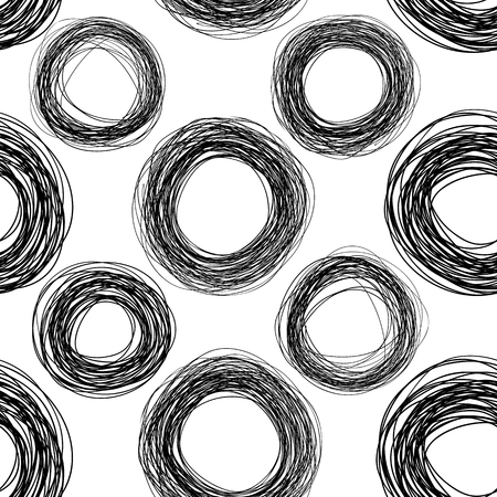 seamless texture: Abstract scribble seamless texture, black and white circles pattern Illustration