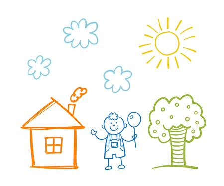 Doodle children`s drawing with happy boy, house, tree, clouds and sun Vectores