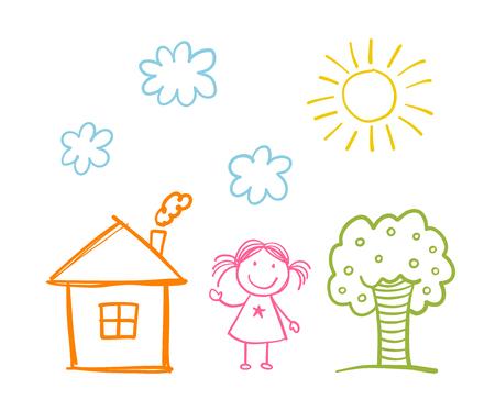 s de los niños doodle con muchacha felices, casa, árboles, nubes y sol
