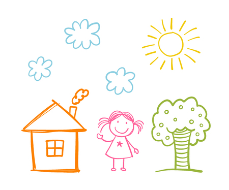 Doodle children`s drawing with happy girl, house, tree, clouds and sun