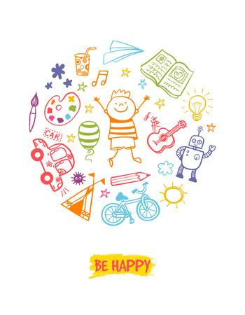 Happy children doodle vector illustration. Stock Illustratie