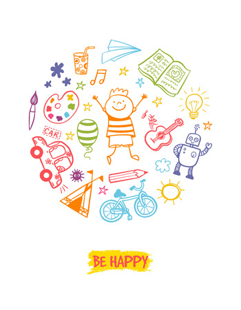 Happy children doodle vector illustration. Çizim