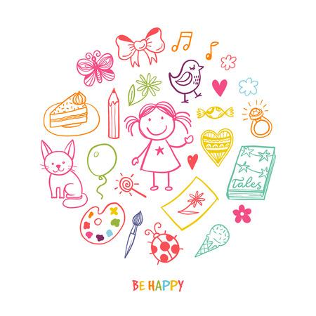Doodle-Grußkarte mit glücklichen Mädchen und ihr Spielzeug und Werkzeuge Standard-Bild - 53220225